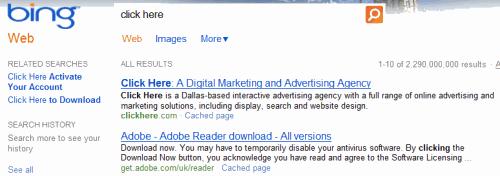 Clickhere.com ranks #1 on Bing