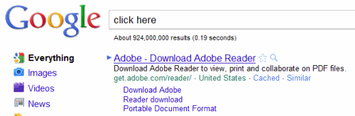 Adobe ranks #1 for click here on Google