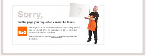 Error 404 page from B&Q