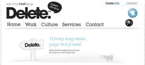 Error 404 page from Delete