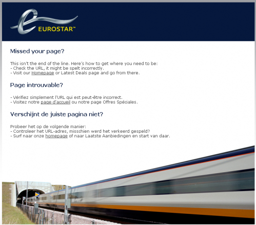 Error 404 page from Eurostar
