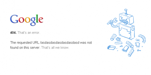 Error 404 page from Google