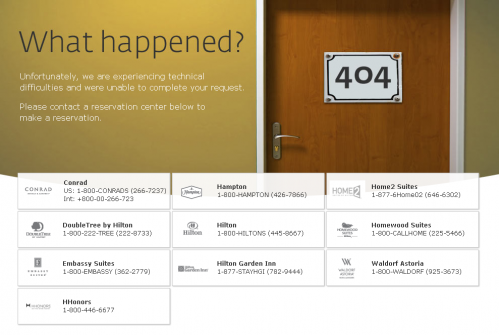Error 404 page from The Hilton