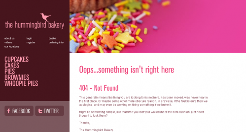 Error 404 page from Hummingbird Bakery