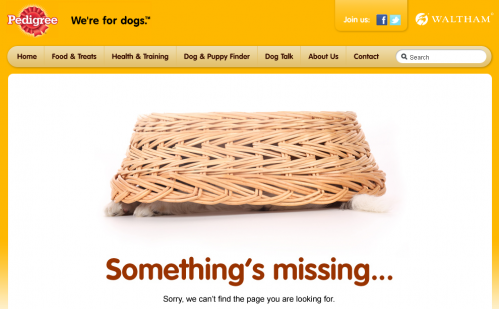 Error 404 page from Pedigree