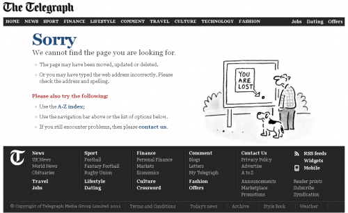 Error 404 page from The Telegraph