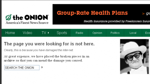 Error 404 page from The Onion