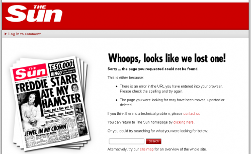 Error404 page from The Sun Online