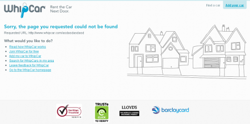 Error 404 page from WhipCar