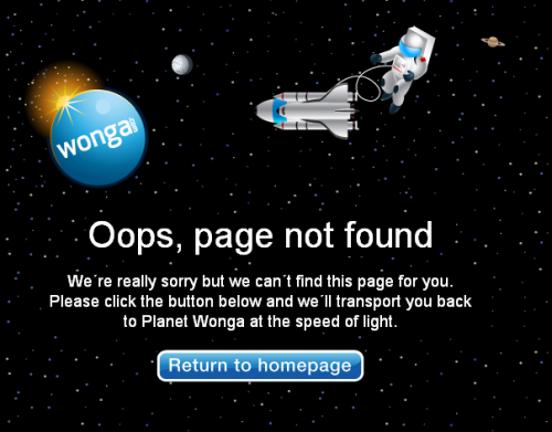 Error 404 page from Wonga