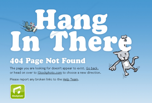 Error 404 page from iStockphoto