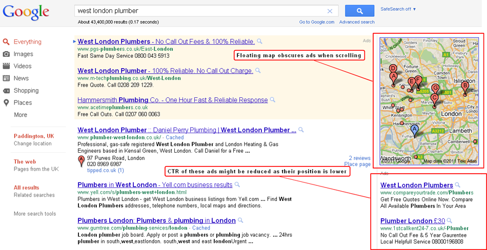 google adwords reports on top versus side ads performance