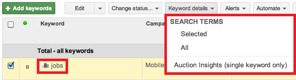 AdWords Auction Insights Single Keyword Only
