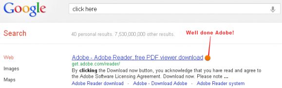 Adobe rank #1 for click here