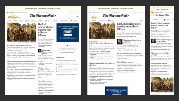 Boston Globe - responsive design
