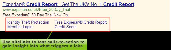 Experian sitelinks