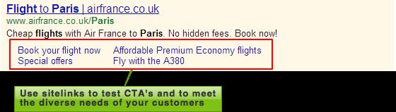 Air France sitelinks