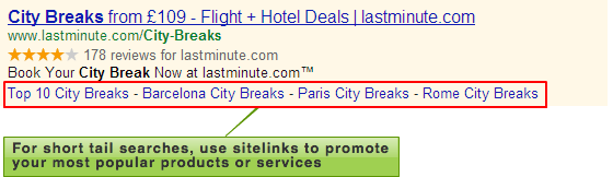 Lastminute.com sitelinks