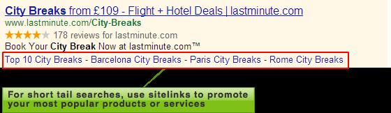 Lastminute.com sitelinks