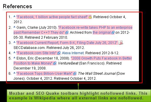 Nofollowed links in Wikipedia