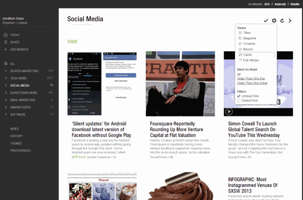 Feedly desktop[ view