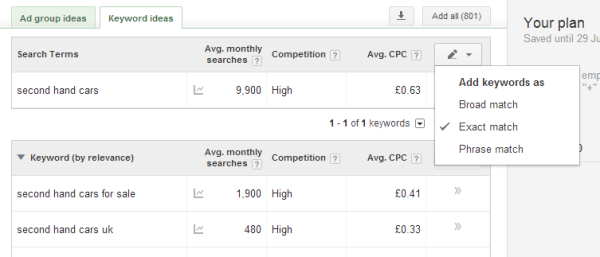 Keyword Planner match types