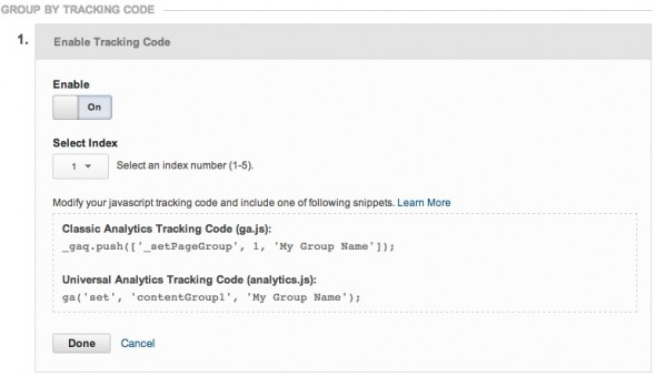 Enable tracking code - Google Analytics content groups