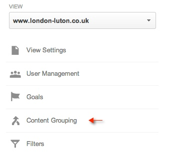Setting up content grouping