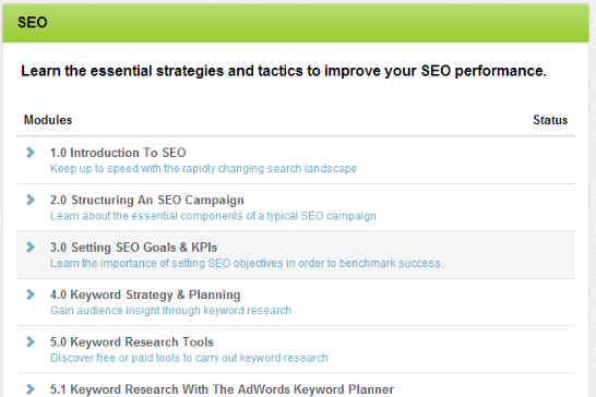 online SEO course example