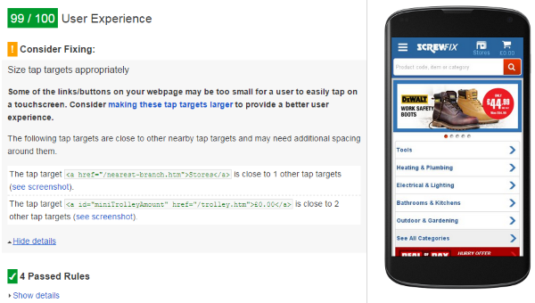 Mobile UX with PageSpeed Insights