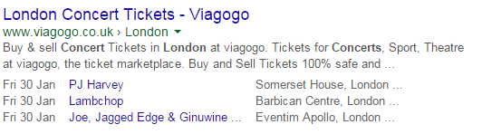 Rich snippets - events