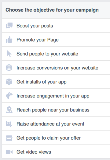 Facebook advertising objectives