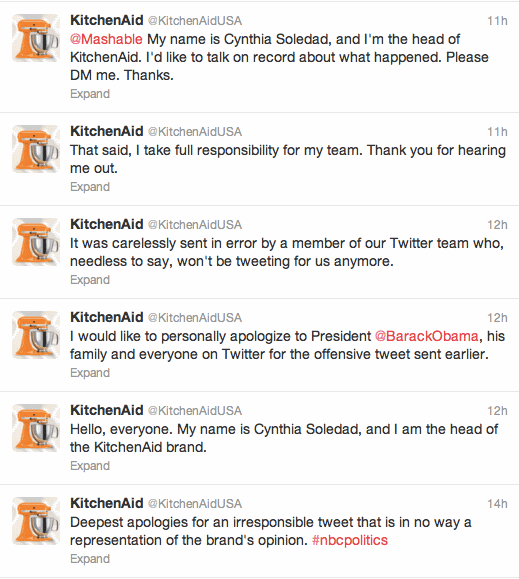 Kitchen Aid apology tweet