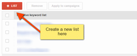 Create campaign negative keyword list