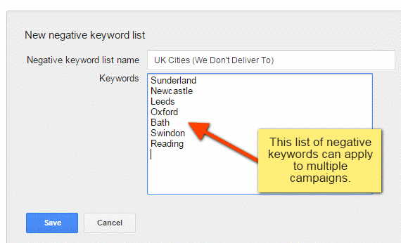 Campaign negative keyword lists