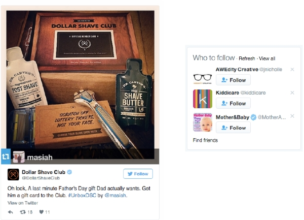 Dollar Shave Club Twitter campaign