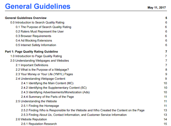 Search quality rater guidelines