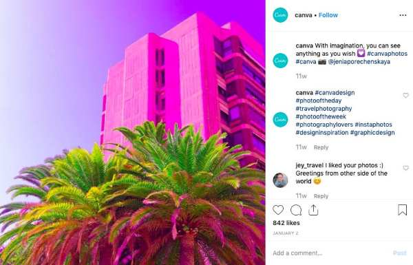 Bold colours on Instagram