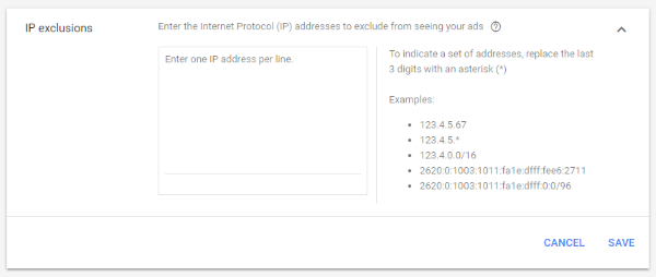 Google Ads IP exclusions