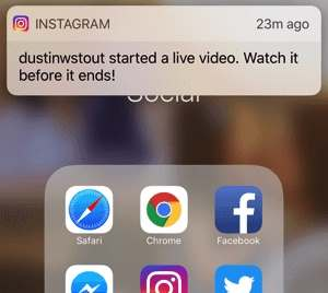 Instagram Live Video notification